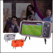 TV RETRO - CONEXÃO BLUETOOTH & SUPORTE PARA CELULAR